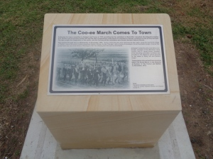The Coo-ee March plinth at Mount Druitt Park Remembrance Gardens (Photograph: H. Thompson 30/5/2015)