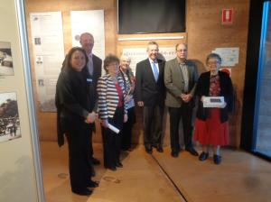 Gilgandra Shire Council Cultural Officer Kylie Moppett, Acting Mayor Cr. Ashley Walker, Gilgandra Museum & Historical Society curator Shirley Marks, Gilgandra Museum & Historical Society member Margo Piggott, Member for Parkes Mark Coulton, and Graeme Hosken and Mrs Imelda Silva.