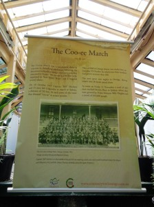Coo-ee March banner on display at The Blowes Conservatory. Cook Park, Orange 27/10/2015