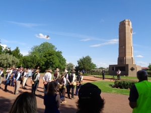 Cr Mathew Dickerson, Mayor of Dubbo, giving welcome speech at Dubbo War Memorial 20/10/2015