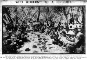 Who wouldn't be a recruit? Breakfast at Balladoran (Daily Telegraph 14/10/1915)