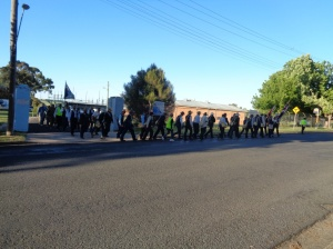 Marchers and Federation Guard leaving Romani Barracks, Orange 28/10/2015