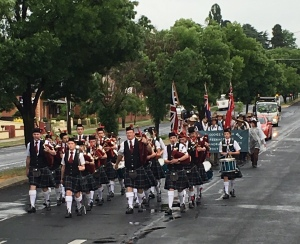 Scots School Pipes & Drums Band in Bathurst Street Parade 31/10/2015
