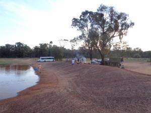 Some of the marchers at Riley's Dam at Goonoo National Park