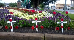 Three white crosses for the three fallen Bathurst Coo-ees at Bathurst War Memorial Carillon 31/10/2015
