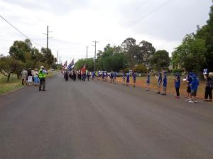 Wongarbon Public School students welcome the marchers 21/10/2015