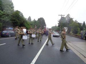 The Australian Army Band and the marchers arriving at Katoomba RSL Club 5/11/2015