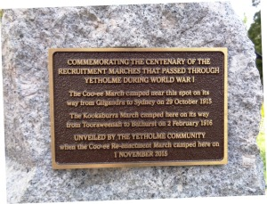 Commemorative plaque at Yetholme War Memorial 1/11/2015