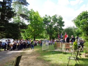 Marchers and crowd at the commemorative service at Yetholme War Memorial 1/11/2015