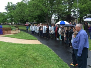Crowd at commemorative service t Lithgow War Memorial 3/11/2015