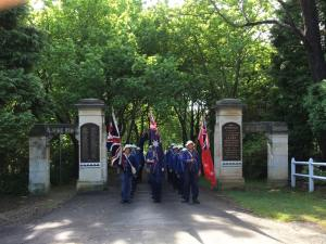 Marchers about to leave the Lone Pine Memorial Gates at Leura 6/11/2015