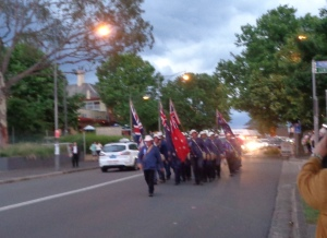 Marchers arriving at Springwood War Memorial 6/1/2015