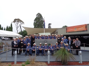 Marchers at the Katoomba Community War Memorial, later in the afternoon after the service 5/11/2015