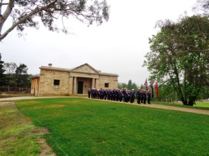 Marchers lined up at Old Court House, where the Coo-ees stayed overnight in 1915, 4/11/2015