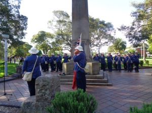 "Marcher giving a ""Coo-ee"" for the people of Ashfield after the Ashfield War Memorial service 10/11/2015"