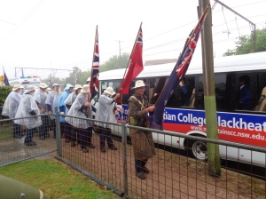 The marchers leaving Blacktown-Mt. Victoria RSL Sub-Branch Hall 5/11/2015