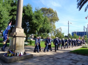 Marchers leaving Granville War Memorial 10/11/2015