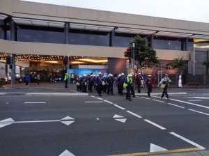 Marchers leaving Wests Ashfield Leagues Club 11/11/2015