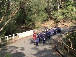 Marchers on the Lennox Bridge on Mitchells Pass 7/11/2015