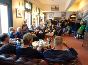 Marchers resting at the Imperial Hotel In Mt Victoria 4/11/2015