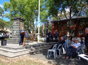 The Mayor of Holroyd, Cr. Greg Cummings, welcomes the marchers at Merrylands Remembrance Park Memorial 9/11/2015