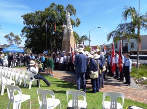Photo of marchers and others after the Auburn War Memorial service 10/11/2015