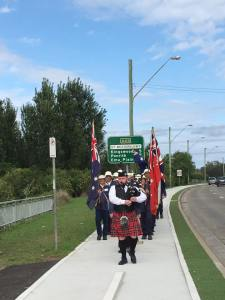 Piper leading the marchers into St Marys 8/11/2015