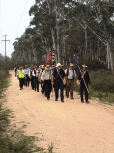 Marchers on track beside Glowworm Tunnel Road, Lithgow 3/11/2015