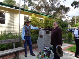 Brian Bywater nd Norm Bromfield at unveiling of the commemorative plaque at Yetholme War Memorial 1/11/2015